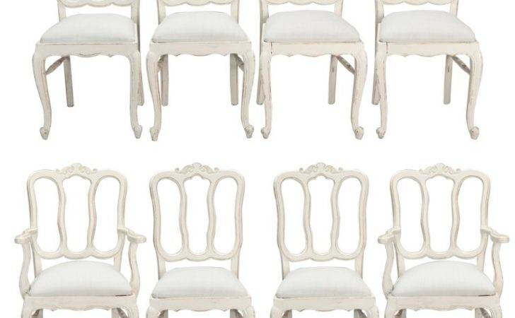 Set Eight French White Painted Open Back Dining Chairs