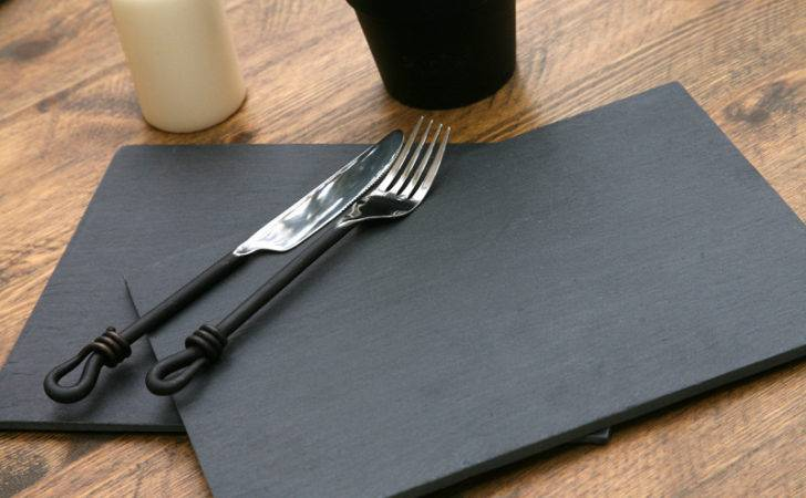 Set High Quality Natural Slate Placemats New Ebay