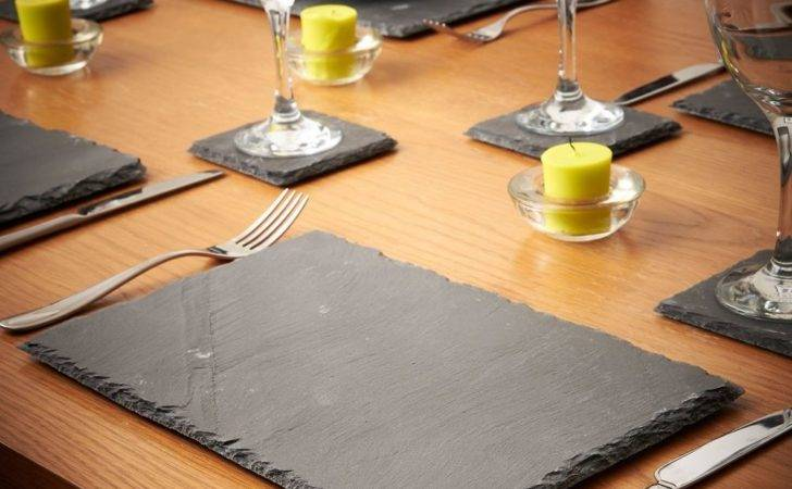 Set Natural Slate Place Mat Coffee Table Placemat