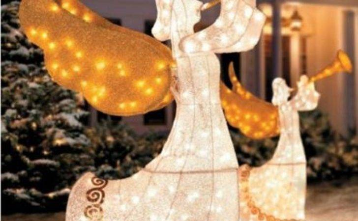 Set Outdoor Animated Lighted Christmas Trumpeting Angels
