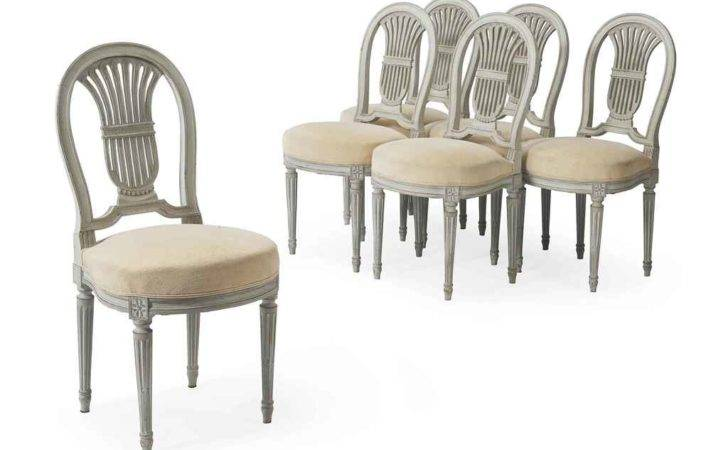 Set Six Louis Xvi Style White Painted Dining Chairs