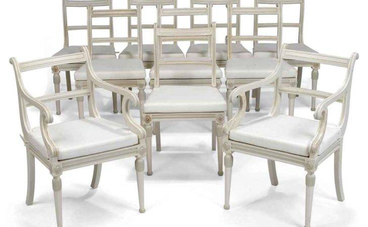 Set Ten White Painted Dining Chairs Recent