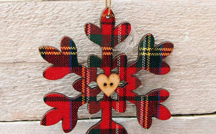 Set Two Tartan Christmas Tree Decorations Red Berry