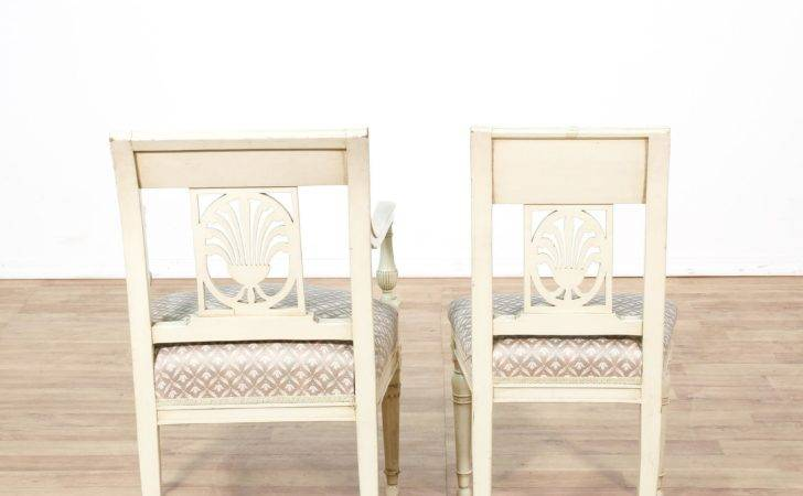 Set White Painted Dining Chairs Loveseat Vintage