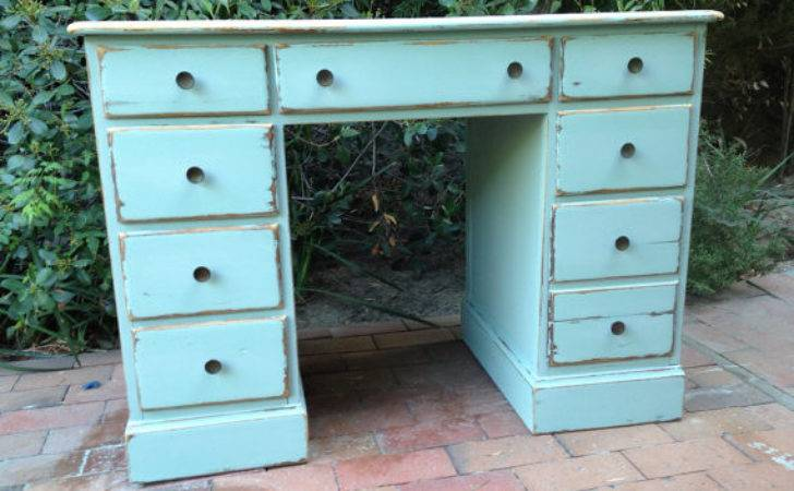 Shabby Chic Blue Beach Cottage Office Desk Turquoise Home