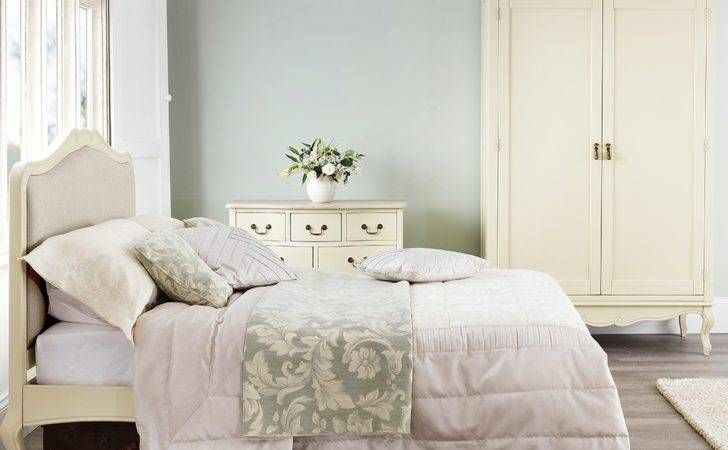 Shabby Chic Champagne Upholstered King Bed