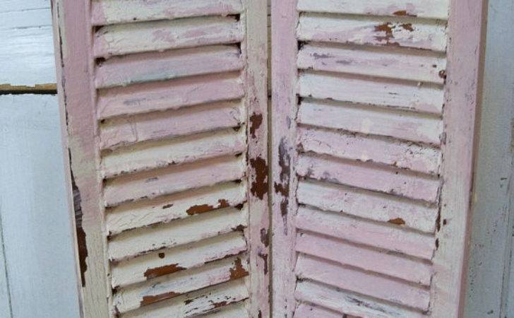 Shabby Chic Cream Pink Shutter Hand Painted Distressed Wood