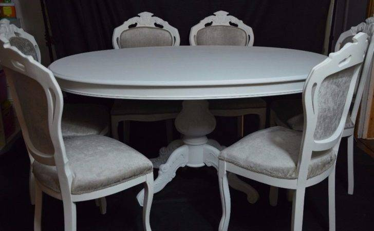 Shabby Chic French Louis Style Oval Dining Table