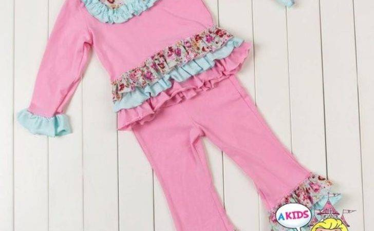 Shabby Chic Girls Outfit Ruffle Pants Pink