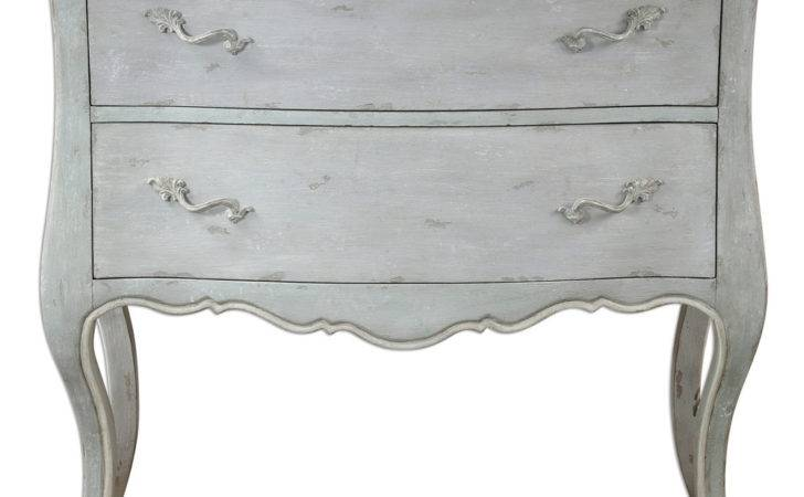 Shabby Chic Serpentine Chest Antiqued Light Gray Finish