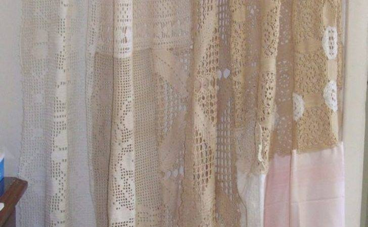 Shabby Chic Shower Curtain Vintage Crochet Linen