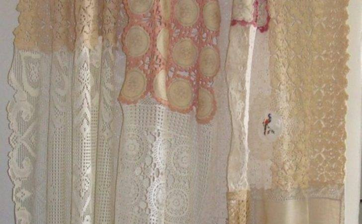 Shabby Chic Shower Curtain Vintage Crochet