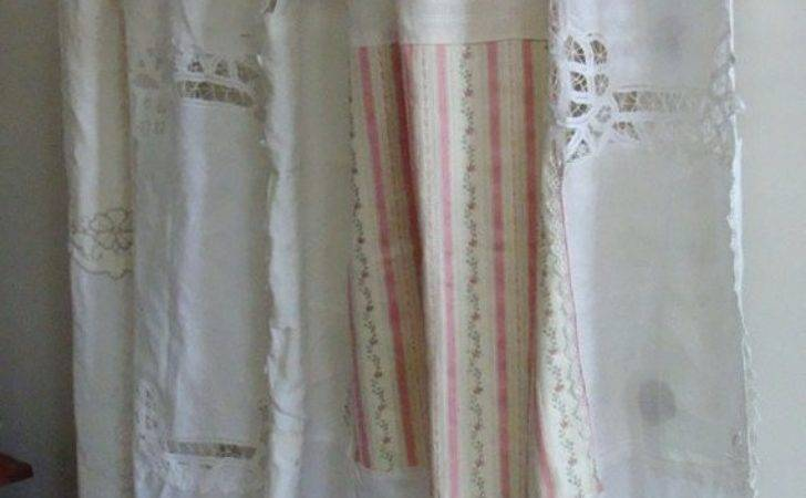 Shabby Chic Shower Curtain Vintage Napkins