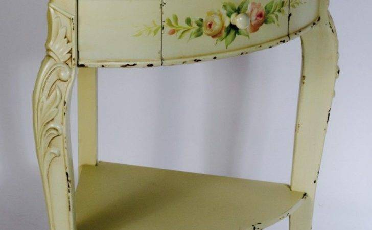 Shabby Chic Vintage Style Floral Corner Table
