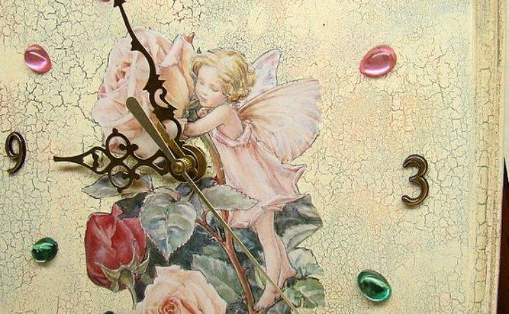 Shabby Chic Wall Clock Crackle Paint Effect Romantic