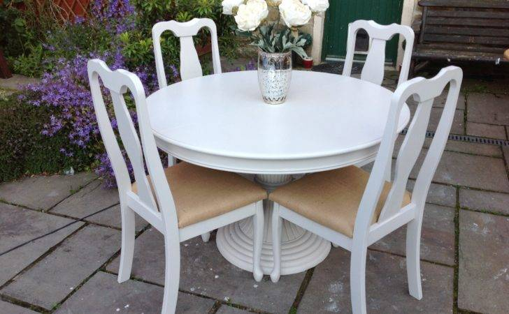 Shabby Chic White Round Dining Table Vintage Chairs