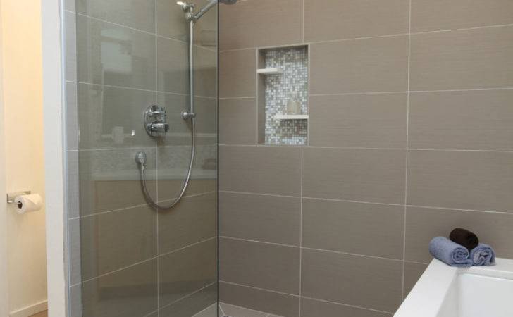 Shower Stall Tile Ideas Bathroom Contemporary Double