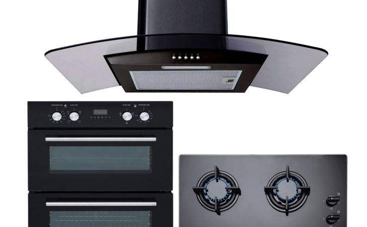 Sia Built Electric Double Oven Black Gas Hob