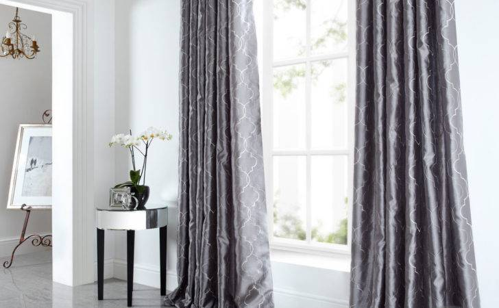 Sicily Curtains Luxury Faux Silk Silver Grey Embroidered