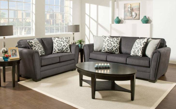 Simmons Flannel Charcoal Living Room Furniture Collection