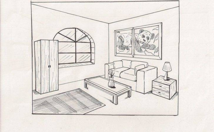 Simple Living Room Drawing Home