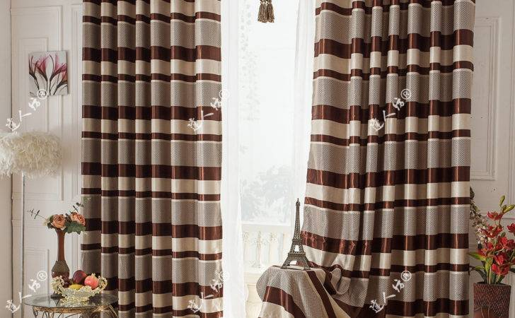 Simple Striped Curtains Brown Color Blackout