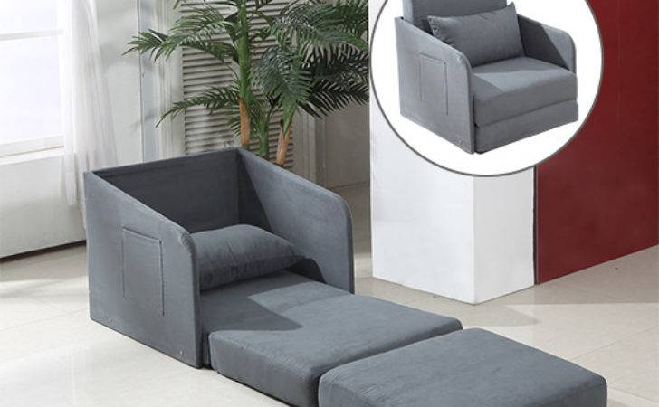 Single Sofa Bed Armchair Soft Seater Sleeper Couch Pillow