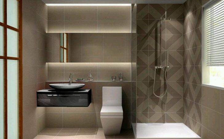 Small Modern Bathroom Design Grasscloth