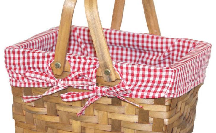 Small Rectangular Basket Lined Gingham Lining