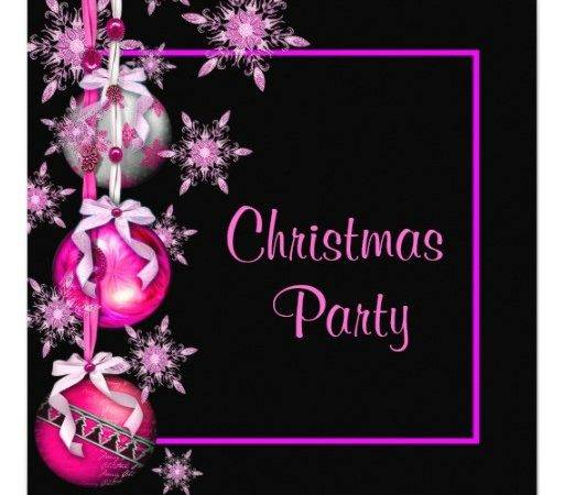 Snowflakes Ornaments Hot Pink Christmas Party Square