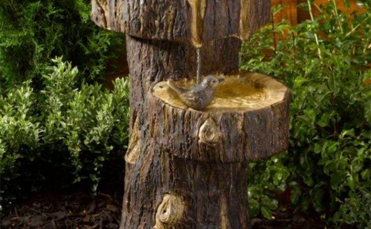 Solar Powered Tree Trunk Water Feature World