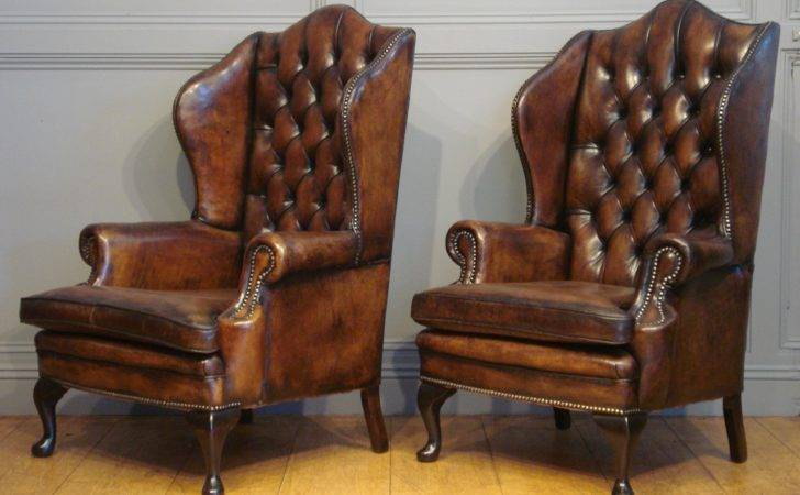 Sold Pair Antique Leather Wing Armchairs