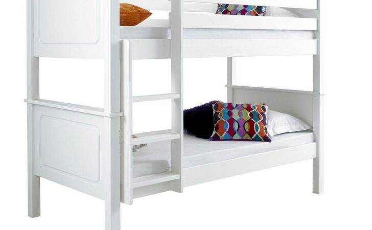 Solid Chunky Lacquered Pinewood White Bunk Bed