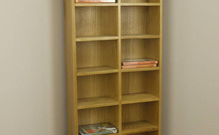 Solid Chunky Oak Tall Wide Dvd Storage Rack Tower