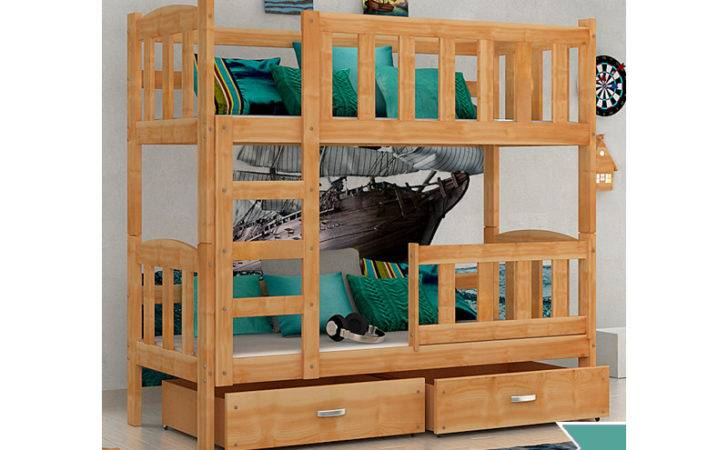 Solid Pine Wood Bunk Bed Bambi Mattresses Drawers