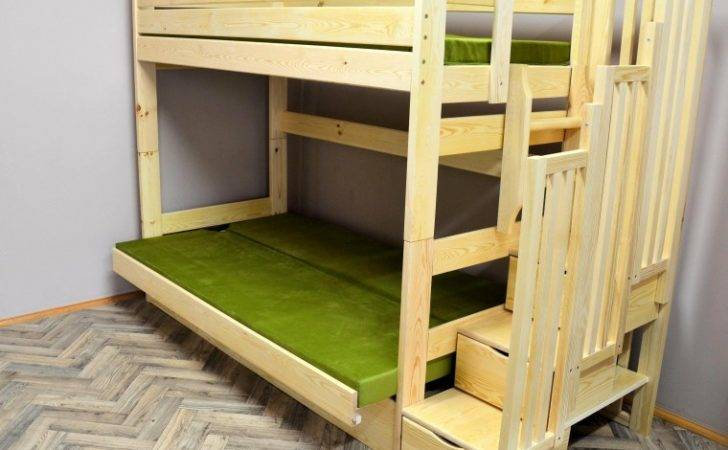Solid Pine Wood Bunk Bed Iris Stairs Mattresses
