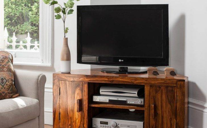 Solid Sheesham Wood Television Stand Corner Unit
