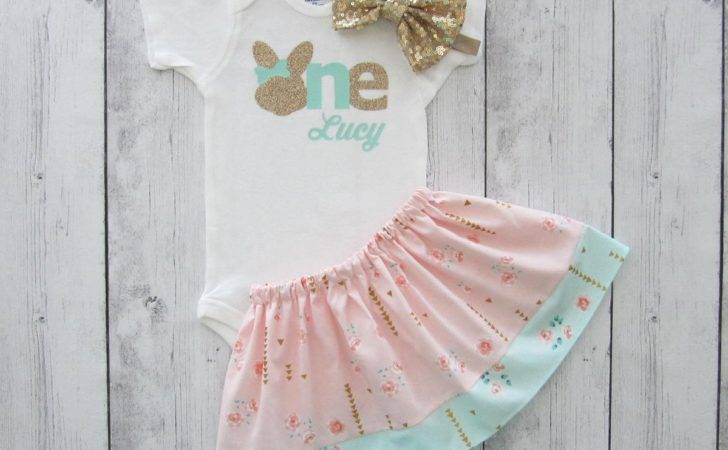 Some Bunny One Shabby Chic First Birthday Outfit Peach