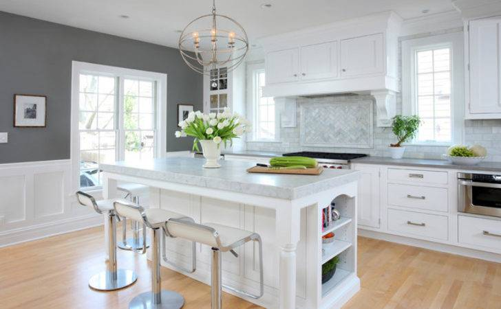 Soothing White Gray Kitchen Remodel Traditional