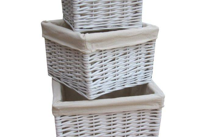 Square White Wicker Deep Storage Basket Lined Willow