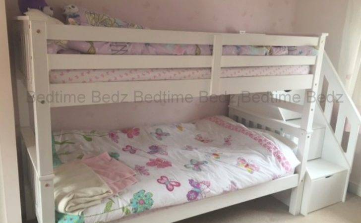 Staircase Bunk Bed White Waxed Built Storage Steps