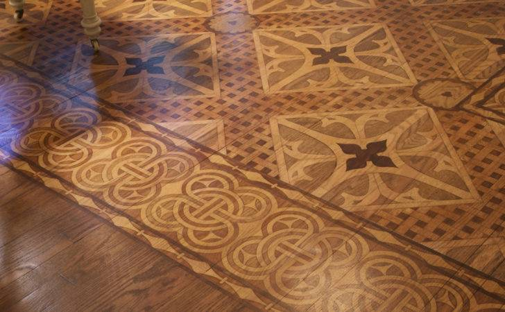Stenciled Stained Faux Marquetry Floor Would