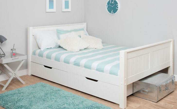 Stompa White Small Double Bed Drawers