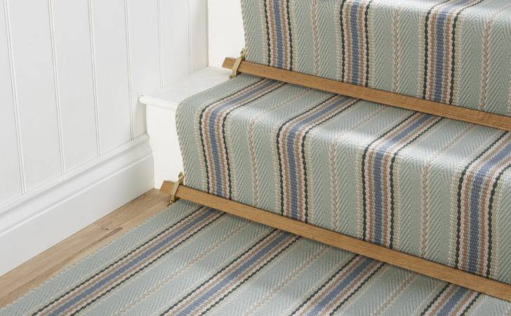Striped Runners Stairs Simple Wooden Carpet