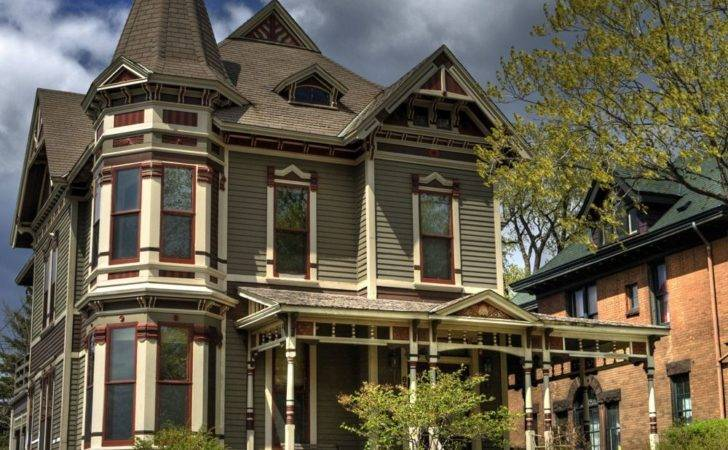 Stunning Brown Green Classic Victorian House Styles