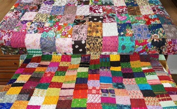Stunning Luxury Patchwork Indian Quilted Bedspread Throws
