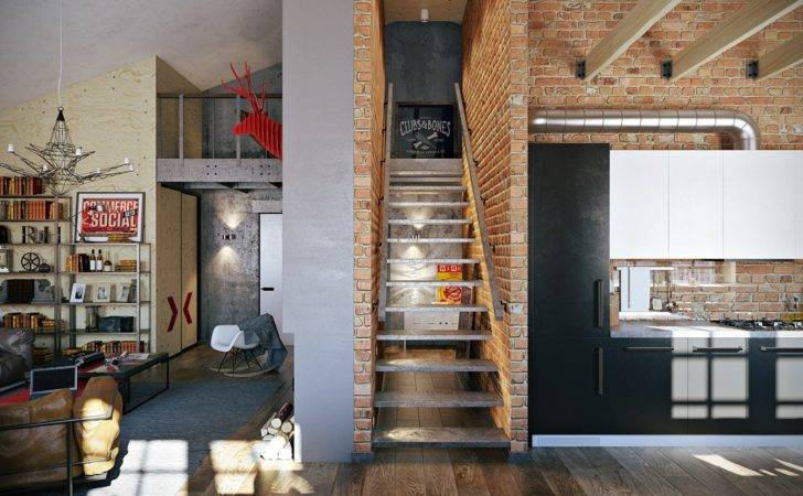 Stylish Industrial Inspired Loft Interiors