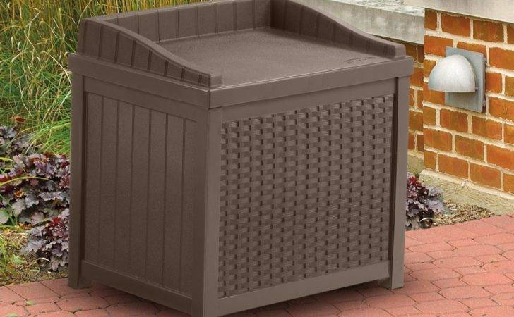 Suncast Resin Wicker Storage Outdoor Garden Seat