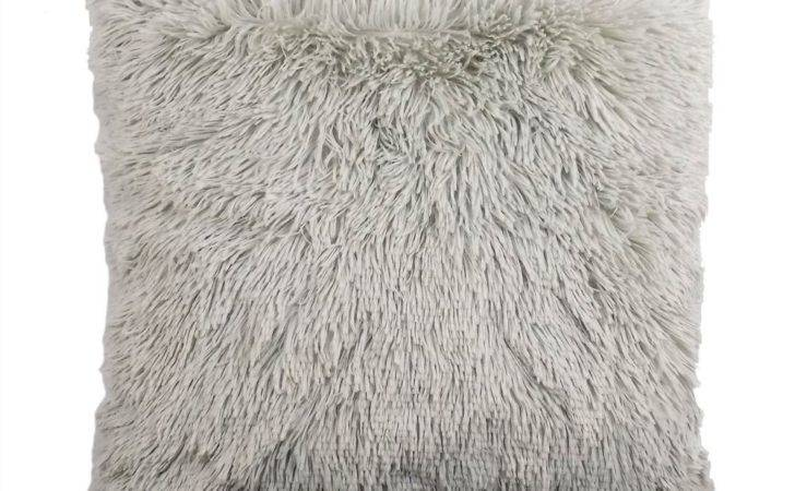 Supersoft Faux Silver Grey Thick Fluffy Cushion Cover