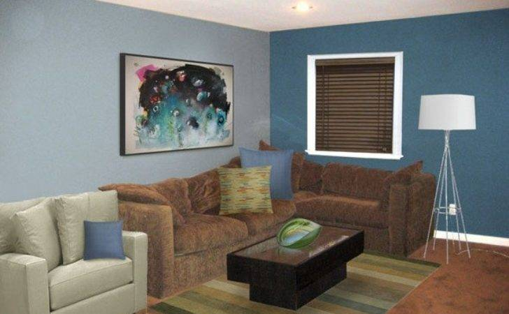 Sweet Masculine Brown Blue Living Room Home Interiors